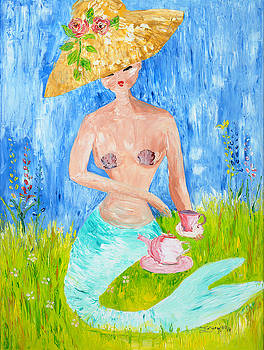 Tea Time with Straw Hat by Theresa LaBrecque