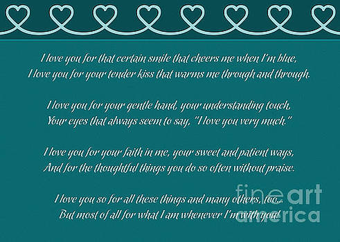 JH Designs - Teal Love and Hearts