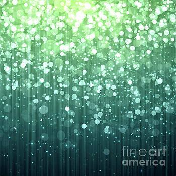 Tina Lavoie - Teal Spring Green Bokeh Sparkle Art
