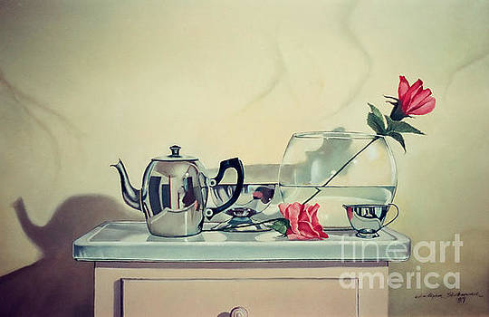 Christopher Shellhammer - Teapot and roses on stand