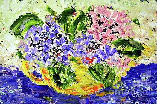 Teapot of Hydrangeas by Lynda Cookson