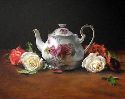 Teapot with Roses by Jill Brabant