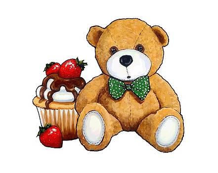 Teddy Bear Party, Bear with Cupcake by Joyce Geleynse
