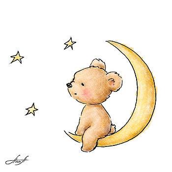 Teddy Bear Watching The Stars  by Anna Abramska