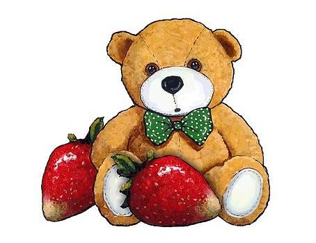 Teddy Bear With Strawberries by Joyce Geleynse