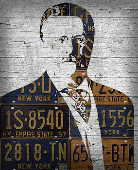 Teddy Roosevelt Presidential Portrait Made Using Vintage New York License Plates by Design Turnpike