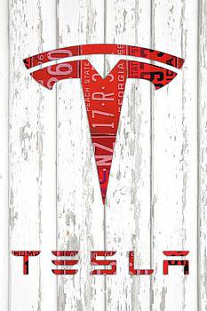 Design Turnpike - Telsa Logo Vintage Recycled Red License Plates Art on Wood