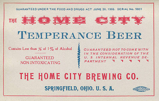 Tom Mc Nemar - Temperance Beer Label