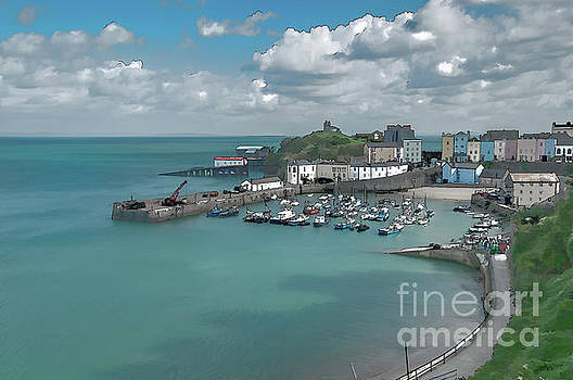 Tenby Harbour Ink Painting by Steve Purnell