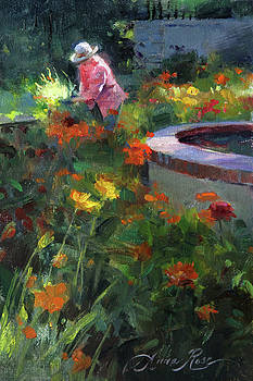 Tending the Dahlias by Anna Rose Bain