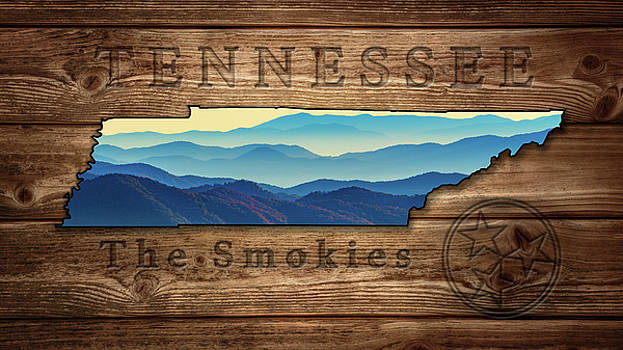 Tennessee The Smokies State Map by Rick Berk