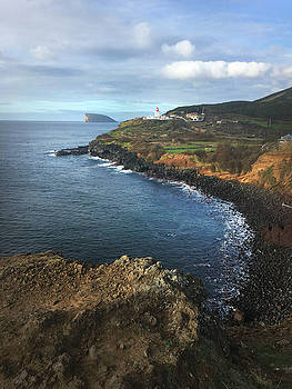 Terceira Island Coast with Ilheus de Cabras and Ponta das Contendas Lighthouse  by Kelly Hazel