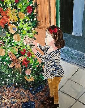 Teresa and Christmas Tree by Sharon De Vore