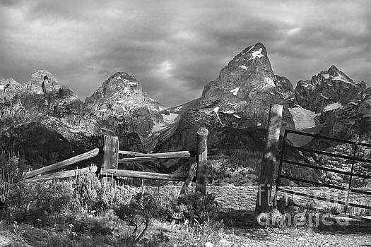 Teton Mountains and Bar BC Ranch Fence by Thomas Levine