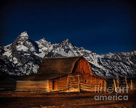 Teton Mountains with Barn by DS Dodd