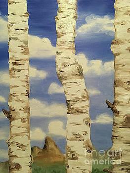 Teton View thru Aspens by Shelley Myers