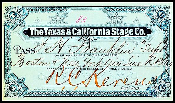 Peter Ogden - Texas and California Stage Company Boston and New York Air Line Railroad Ticket 19th Century