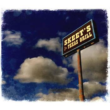 #texas #bbq #sign #iphoneography #clouds by Judy Green