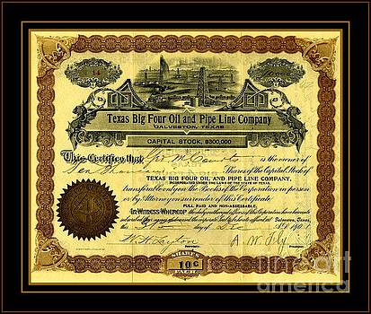 Peter Ogden - Texas Big Four Oil and Pipeline Company Stock Certificate 1901 with oil field and tanker train scene