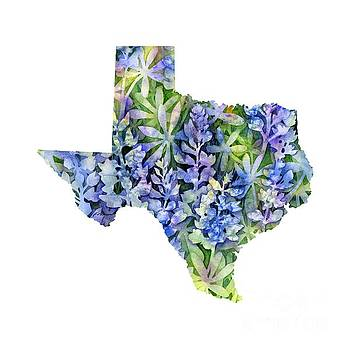 Hailey E Herrera - Texas Blue Texas Map on White
