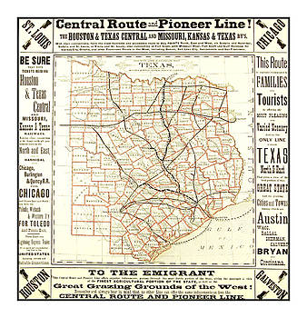 Peter Ogden - Texas Central Route and Pioneer Line County Railroad Map 1875 for Emigrants