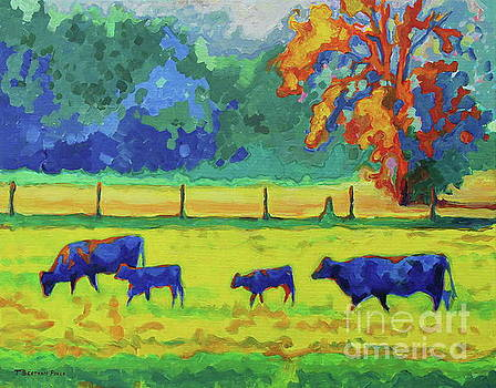 Texas Cows and Calves at Sunset Painting T Bertram Poole by Thomas Bertram POOLE