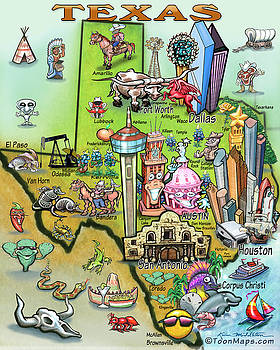 Texas Fun Map by Kevin Middleton