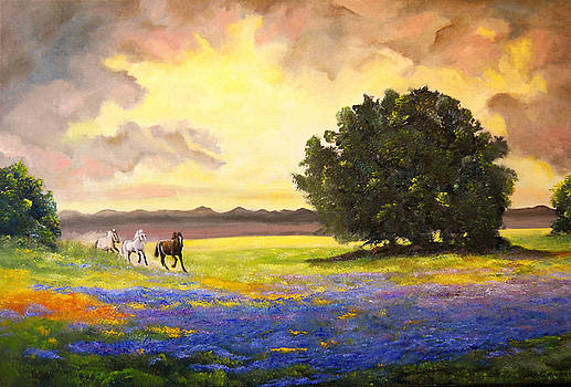 Texas Horses and Bluebonnets by Connie Tom