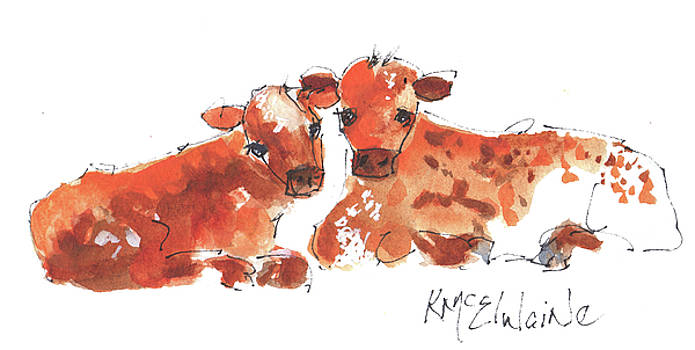 Texas Longhorn babies Calves Watercolor and Ink Painting by KMcElwaine by Kathleen McElwaine