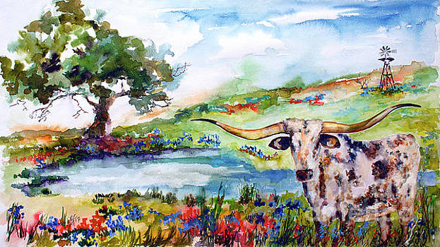 Texas Longhorn landscape with Bluebonnets and Indian Paintbrush by Ginette Callaway