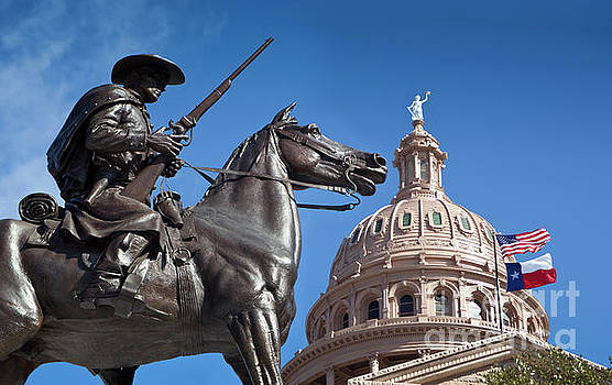 Herronstock Prints - Texas Ranger Statue guards the Goddess of Liberty Statue in fron