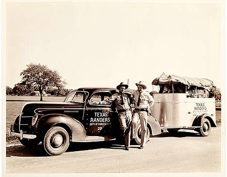 Peter Ogden - Texas Rangers on the Road with horses in trailer 1930s
