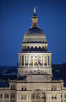 Herronstock Prints - Texas State Capitol Dome aerial view at dusk with cool blue skies - Stock Image