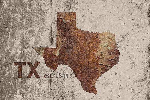 Design Turnpike - Texas State Map Industrial Rusted Metal on Cement Wall with Founding Date Series 004