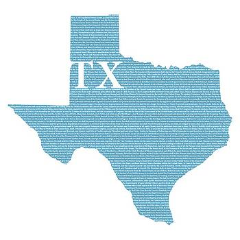 Design Turnpike - Texas State Map With Text Of Constitution