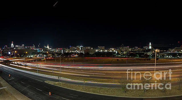 Texas University Tower and Downtown Austin Skyline from IH35 by PorqueNo Studios