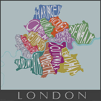 Text Map of London Neighborhoods by Julie Witmer
