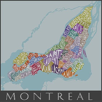 Text Map of Montreal Neighborhoods by Julie Witmer