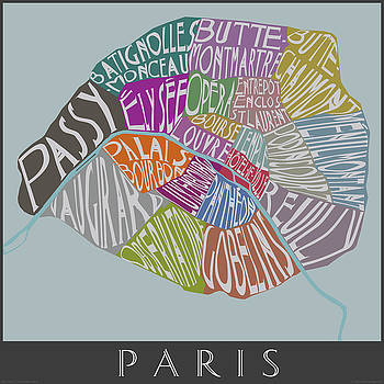 Text Map of Paris Neighborhoods by Julie Witmer
