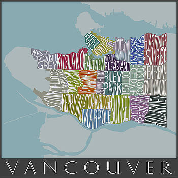 Text Map of Vancouver Neighborhoods by Julie Witmer