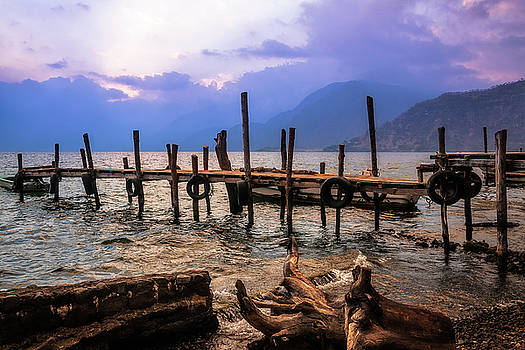 Textures on the shore of Lake Atitlan at Sunset by Daniela Constantinescu