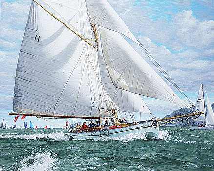 Thalia in the lee of the Needles by Mark Woollacott