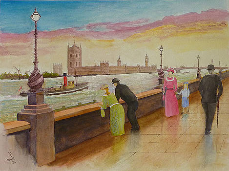 Thames Embankment After the Rain by David Godbolt