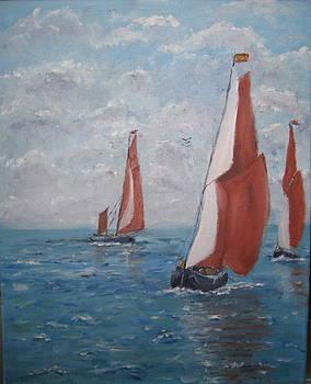 Thames sailing Barges by Bernard Victor