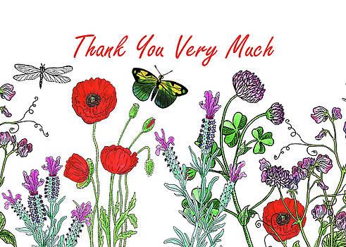 Irina Sztukowski - Thank You Card Watercolor with Flowers Butterflies and Dragonflies