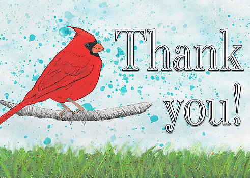Thank You Card with Northern Cardinal by Mary Elizabeth Thompson