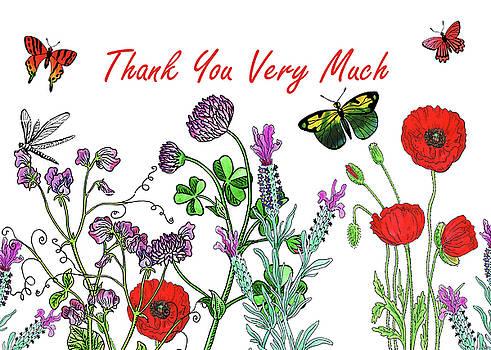 Irina Sztukowski - Thank You Very Much Card Watercolor Flowers And Butterflies