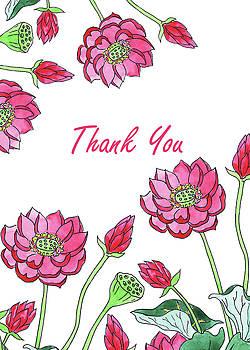 Irina Sztukowski - Thank You Watercolor Lotus Flowers