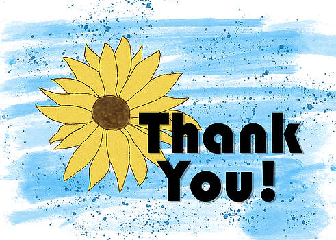 Thank You with Sunflower by Mary Elizabeth Thompson