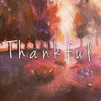 Thankful Autumn Pillow by Michele Carter
